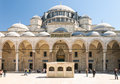 Suleymaniye Mosque interior court with tourists Royalty Free Stock Photo
