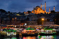 Suleymaniye Mosque at night in Eminonu, Istanbul, Turkey. Royalty Free Stock Photo