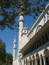 Suleymaniye mosque view of the minarets of the of suleiman in a bright sunny day Royalty Free Stock Photos