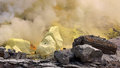 Sulfur in hot volcano the is actioning working time Stock Photos