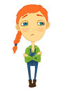 Sulky girl with braid and big eyes not smiling for print isolated vector illustration Royalty Free Stock Images