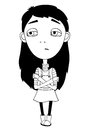 Sulky girl with braid and big eyes not smiling for print isolated vector illustration Royalty Free Stock Image