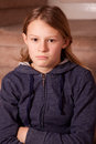 Sulky girl teenage with her arms folded Stock Image