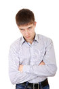 Sullen teenager portrait on the white background Royalty Free Stock Photography