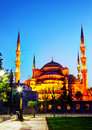 Sultan ahmed mosque blue mosque in istanbul at night Royalty Free Stock Image