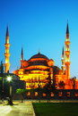 Sultan ahmed mosque blue mosque in istanbul at the night time Stock Photo