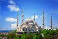 Sultan ahmed mosque blue mosque in istanbul the sunny summer day turkey Stock Photos