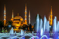 Sultan ahmed mosque blue mosque at night Royalty Free Stock Images