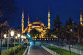 Sultan Ahmed Mosque in Istanbul against the blue sky Royalty Free Stock Photo
