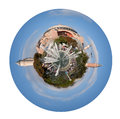 Sultanahmet square and haghia sophia cathedral little planet urban spherical view on with fountain in istanbul turkey isolated on Royalty Free Stock Image