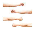 Sum 4 pic of Arm in fist action on white background Royalty Free Stock Photo