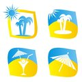 Sumer icons set of four blue and yellow summer Stock Photography