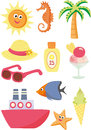 Sumer set summer and vacation icons Royalty Free Stock Image