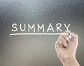 Summary text with hand writing Stock Images