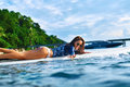 Summer Adventure. Water Sports. Woman Surfing In Sea. Travel Vac Royalty Free Stock Photo