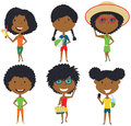 Summer African-American female characters vector illustration.