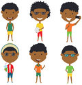 Summer African- American male characters vector illustration.