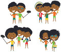Summer African-American male and female characters make a selfie