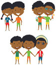 Summer African-American people standing and holding hands
