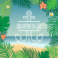 Summer and anchor. Vector summer illustration hand lettering. The leaves of palm trees and tropical flowers on a background Royalty Free Stock Photo