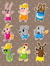 Summer animal stickers Royalty Free Stock Photo