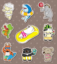 Summer animal stickers Stock Photos