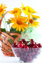 Summer Arrangement - ripe cherries and flowers Stock Photos