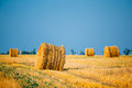 Summer autumn rural landscape field meadow with hay bales after harvest under sunset light late august month Stock Image