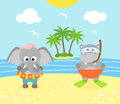 Summer background with elephant and hippopotamus funny on the beach Stock Photos