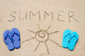 Summer background with flip flops and sign on the sandy beach Stock Image