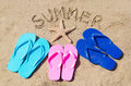 Summer background with flip flops starfish and sign on the sandy beach Royalty Free Stock Image
