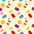 Summer background with fruity popsicle, orange and cherry furit. summertime seamless pattern with ice cream pop stick