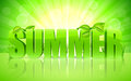 Summer background green word with fresh leaves and grass on bright Stock Photos