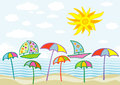 Summer background illustration of with boats and sun Stock Image