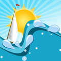 Summer background illustration of sea with boat and sun on blue bright Royalty Free Stock Image
