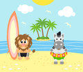 Summer background with lion and zebra on the beach Royalty Free Stock Photo