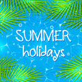Summer background with palm branches