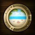 Summer Background In Ship Porthole Illustration Royalty Free Stock Photo
