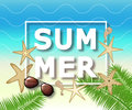 Summer background with with starfish and sunglasses. Vector illustration template, banners. Wallpaper, flyers