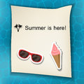 Summer background with stickers sunglasses and ice cream eps Stock Images