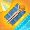 Summer background with sunbathe girl on beach near sea Royalty Free Stock Photo