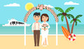 Summer background, sunset beach. The sea, yachts, palm trees and newly married couple. Floral arch. Wedding ceremony by