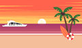 Summer background - sunset beach. The sun going down over the horizon is sunset. Sea, yacht and a palm tree. Vector