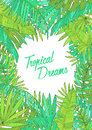 Summer background with tropical leaves, monstera, chamaedorea, banana and other palms. Template for placard, poster
