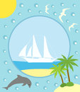 Summer background with yacht card Royalty Free Stock Image