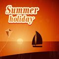 Summer background with yacht vector illustration Royalty Free Stock Images