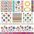 Summer backgrounds flower patterns set Royalty Free Stock Photography