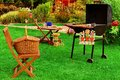 Summer Backyard  BBQ Grill Party Or Picnic Scene Royalty Free Stock Photo