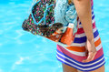 Summer bag and pool Royalty Free Stock Photo