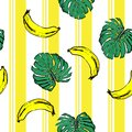 Summer banana and plam leves on resort stripe seamless pattern